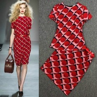 2014 Fashion ladies summer dress print slim hip dress womens fashion twinset dress women dress