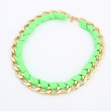 New 2014 Vintage 18K Gold Plated Rope Chunky Choker Chain Neon Bib Statement Necklaces Pendants Fashion