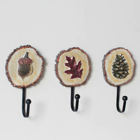 Free Shipping! 3pcs/lot Vintage Style Maple leaf Pinecone design Iron Clothes Hook Hand-painted Resin Hook Home Decoration New