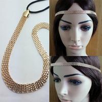 2014 women's fashion simple style straight gold Chain elasticity Headband classic hair accessories