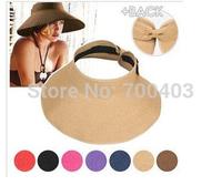 2014 New Arrive Women Summer Hat Empty Beach Hat Bowknot Folding Volume Cap And Sunbonnet Hat