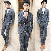 (Jacket+Pants+ Vest) 2014 New Arrival Men Plaid Suits Brand Fashion Formal Slim Fit  Business Dress Suits Blazers F0044