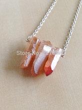 Wholesale 5pcs/lot Orange Quartz Point Necklace Jewlery Druzy jewelry with 20inch Silver&Gold Chain,5pcs/lot