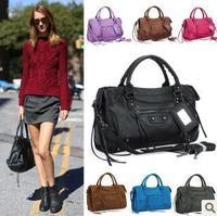 Free shipping Nubuck Leather motorcycle messenger bags One shoulder inclined shoulder bag women vintage handbag work bag