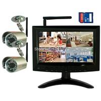 "DIGITAL WIRELESS NETWORK P2P QUAD 7""LCD SD DVR SECURITY CAMERA SYSTEM SMARTPHONE"