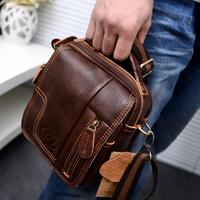 2014 fashion men's Messenger Bag Retro Shoulder Bag Genuine Leather Small Bag Crossbody Multifunctional Waist Pack M209