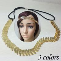 12pcs Blingbling fashion metal scales shape Elastic headband gold color hair chain hair accessory Punk stlye