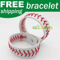 Leather fastpitch softball seam bracelet