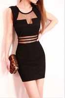 In Stock High Quality Spring New 2014 Sheath Black Bodycon Casual Women Sleeveless Lucency Beach Dress Mini Vestidos Dress