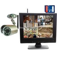 "DIGITAL WIRELESS NETWORK WIFI P2P QUAD 10""LCD SD DVR CCTV SECURITY CAMERA SYSTEM"