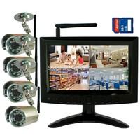 "DIGITAL WIRELESS NETWORK P2P QUAD 7"" MONITOR SD DVR CCTV SECURITY CAMERA SYSTEM"