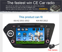 For kia rio 2012,2din 800Mhz CPU WInce 6.0 Os car dvd player ,support 3g/wifi car stereo radio+Free Camera 002