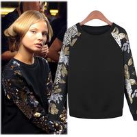 S M L XL XXL Spring 2014 new women sweatshirts fleece pullover loose sequins round neck  sweater women Hoodies Free shipping Q76