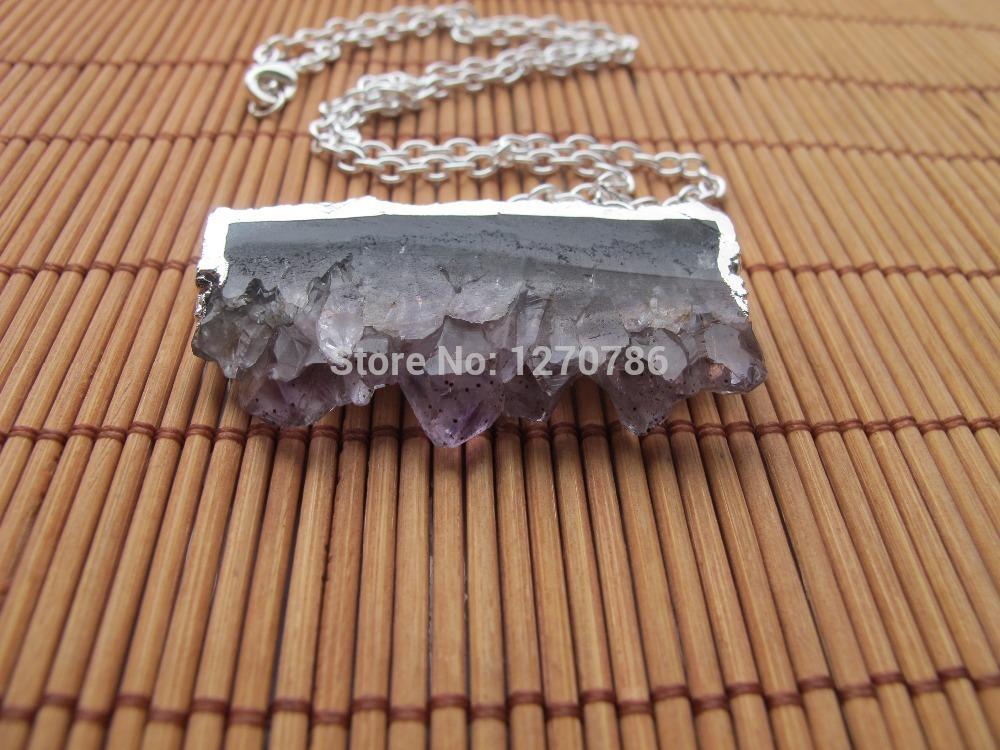 Amethyst Druzy Necklace Gem stone Jewlery Druzy jewelry Necklace with 20inch Silver Gold Chain 5pcs lot