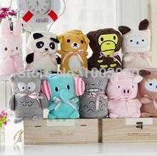 Cute Cartoon Animal Baby Cotton Soft Plush Blanket Coral Fleece Air Conditioning Blankets for Kids Children Women Home Beding