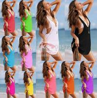 10PCS/LOT Sexy Vest Style Bikini Smock Beach Dress Casual Holiday Tank Dress 11Colors VB003