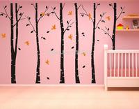SIA 2014 New  large vinyl black coffee brown white 4colors birch tree decals Birds Vinyl Wall Sticker Home Decor