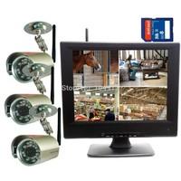 "DIGITAL WIRELESS NETWORK P2P QUAD 10""LCD SD DVR CCTV SECURITY CAMERA SYSTEM FOR HOME SURVEILLANCE"