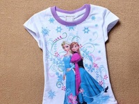 Free Shipping 3D Printer Baby Girl Frozen T Shirt Girls Short Sleeve T-shirt Kids Summer Frozen Cotton Clothing 5Pcs/Lot