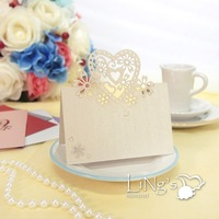 50 pieces Laser Cut Ivory Place Cards Wedding Name Cards For Wedding Party Table Decoration - FREE SHIPPING