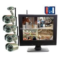 "DIGITAL WIRELESS NETWORK P2P QUAD 10"" MONITOR SD DVR CCTV SECURITY CAMERA SYSTEM"