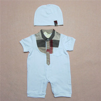 freeshipping 2014 fashion brand 100% cotton baby Rompers  baby girl baby boy rompers  with hat for 1-12M