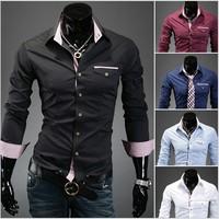 2014 new lattice modification hit color casual shirt metrosexual man manufacturing Men Casual Shirt