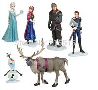 Frozen Figure Play Set  6pcs/set Frozen Anna Elsa Hans Kristoff Sven Olaf PVC Action Figures Toys Classic Toys Free Shipping