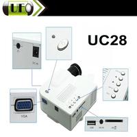 Wholesale  MINI Portable LED White Digital Projector  UC28 AV VGA SD USB Slot with Remote Vedio Control Digital Projector
