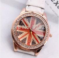 Free shipping Fashion Leather Strap Women Dress Watch stylish Quartz Watches women rhinestone Classic  flag diamond wristwatch
