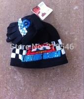 Free shipping 5sets/ lot children cartoon winter cap and glove baby boy cartoon winter cap+glove car warm hat+glove 2pc set 1-4Y