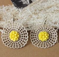 Europe style fashion DIY creative handmade lace flower earrings women round drop earrings 070