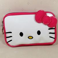 2014 New Beautiful Cute  Hot  Pink    Hello kitty Bow Pu  Zipper   Women Girl Lady Wallet  Purse Size(18.0cm*11.0cm)