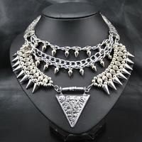 New 2014 Wholesale Fashion Women Punk Style accessories New Design Alloy  Pendant Choker Statement Choker Pendant &Necklace