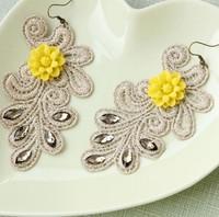 New 2014 fashion exaggerated big earrings DIY handmade jewelry lace flower dangle earrings women brand jewelry 071