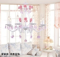 5 light Wrought iron Rose chandelier light Crystal pendant lamp Light White/Pink/Yellow Flower lamp+K9 crystal-E14 candle Bulb