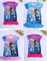 2014 New kids cartoon frozen dress baby girls short sleeve princess dress children's summer fashion pajamas
