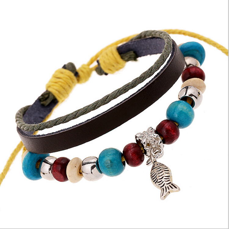 Wholesale New Arrival Wrap Brown Leather Bracelet With Braided for women men Metal fish Charms Fashion Woven bracelet(China (Mainland))