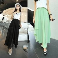Long Spring New 2014 Skirts Womens Tops For Women Saias Pleated Chiffon Skirt Saias Femininas Fashion Skirt Print Female Skirt