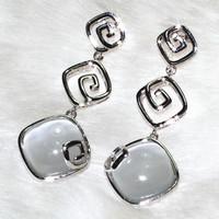 Cat's-eye rhombus three serial circle earrings pins & needles Zinc Alloy Platinum plating ALW1862