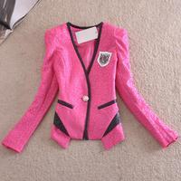 Free shipping !!! ladies new fashion 2014 Spring  long sleeve jacket,coat,2 colors ,M-2XL,Plus size.
