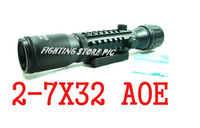Hunting 2-7x32AOE Tri Rail Red and Green Mil-Dot Rifle Scope Sight Outdoor Riflescopes Optical sights Airsoft Aim