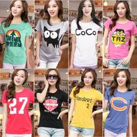 Summer female New 2014 short-sleeve girl t-shirt women's print basic shirt slim loose lovers womens skirts