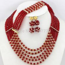 Latest Christmas Jewelry Set Party African Jewelry Set Nigerian Beaded Jewelry Set Fashion Lady Jewelry Set