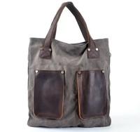 New Brand High Quality Vintage Casual Canvas Crazy Horse Genuine Leather Women Men Big Tote Handbag Shoulder Bag Shopping Bags