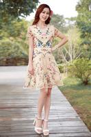 Fashion women's 2014 o-neck sleeveless organza embroidery slim elegant one-piece dress
