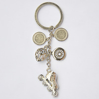 Keychain with Inline Speed Skating Shoes Helmet Wheel, Freeshipping Inline Skates Jewellery