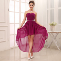 Shoulders strapless wedding toast with short after long before taking the maid of honor Show host evening dress. Free shipping