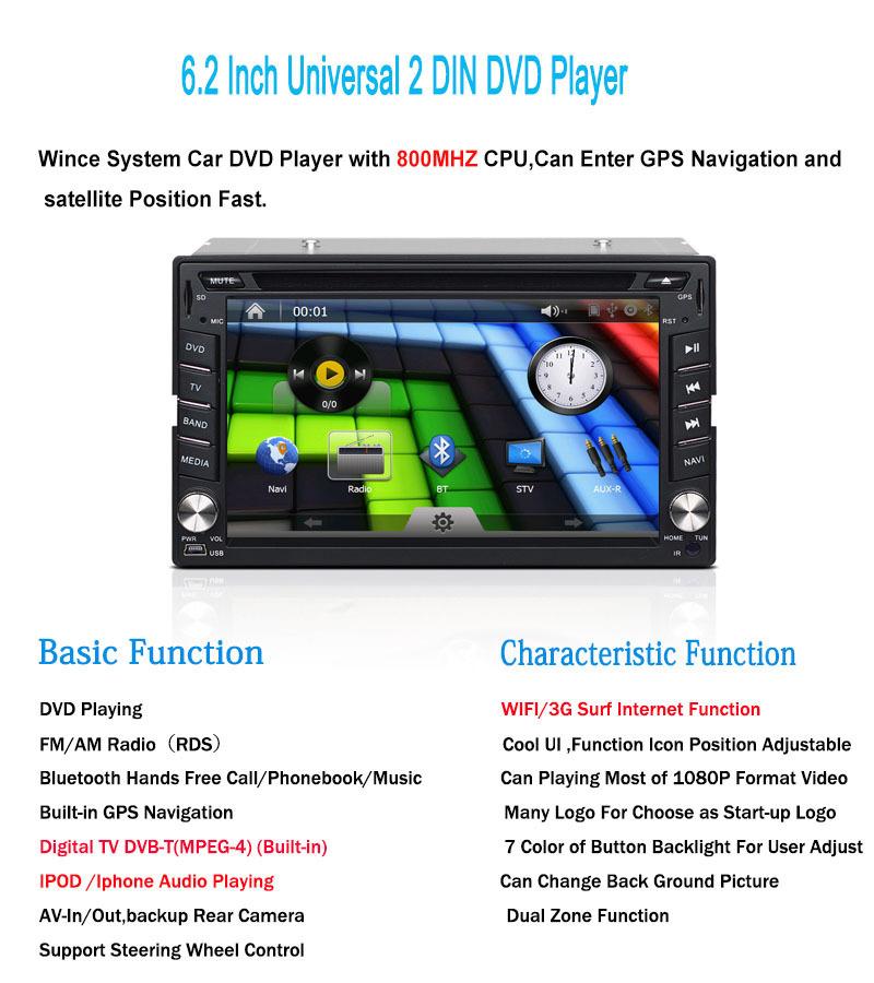 WIF/3G Car DVD Player GPS Navigation Digital TV DVB-T(MPEG-4),IPOD,Bluetooth,3D MAP,Steering Wheel Control,Support 1080P Video(China (Mainland))