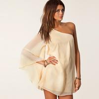 Smss fashion women's oblique strapless long-sleeve racerback loose chiffon one-piece dress